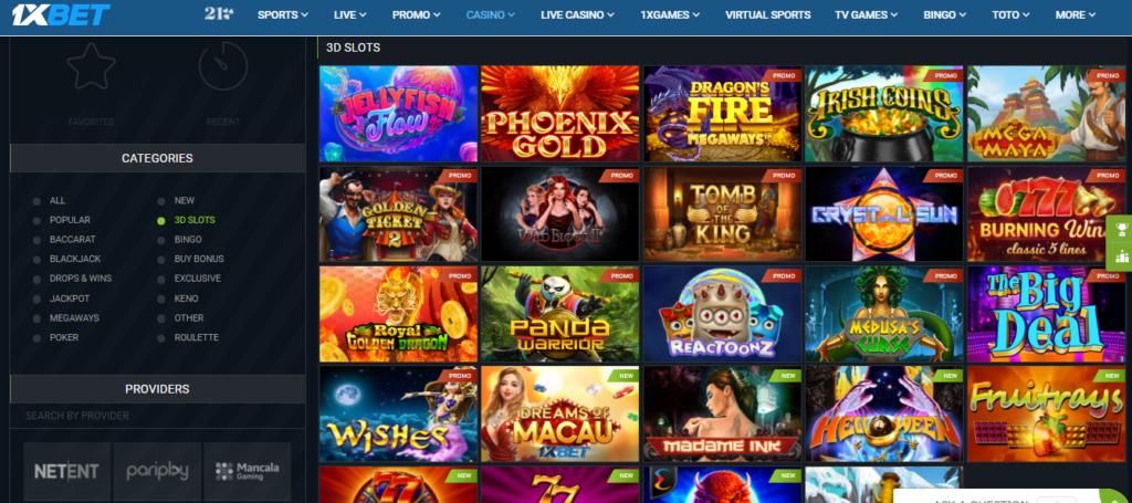 1xBet Casino 3D slots, list of games