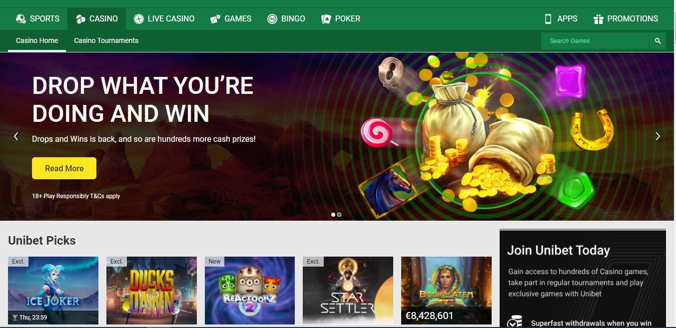 Unibet Casino Main Page