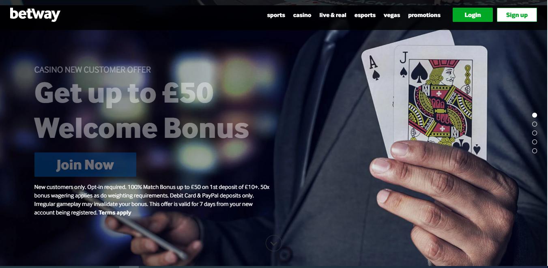 Betway Casino Main Page