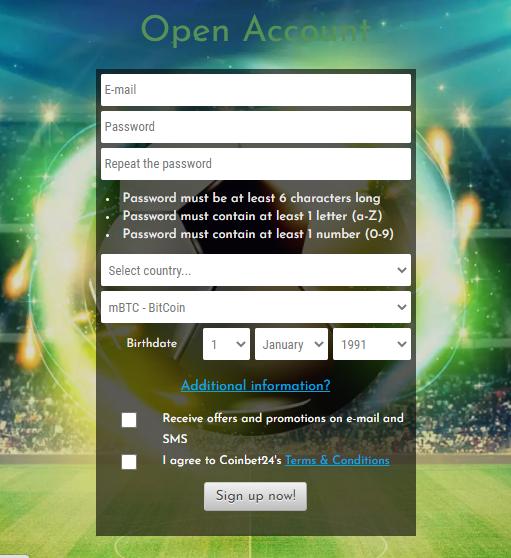 Coinbet24 Registration form