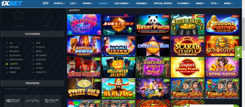 1xBet Casino Jackpot slots, list of games