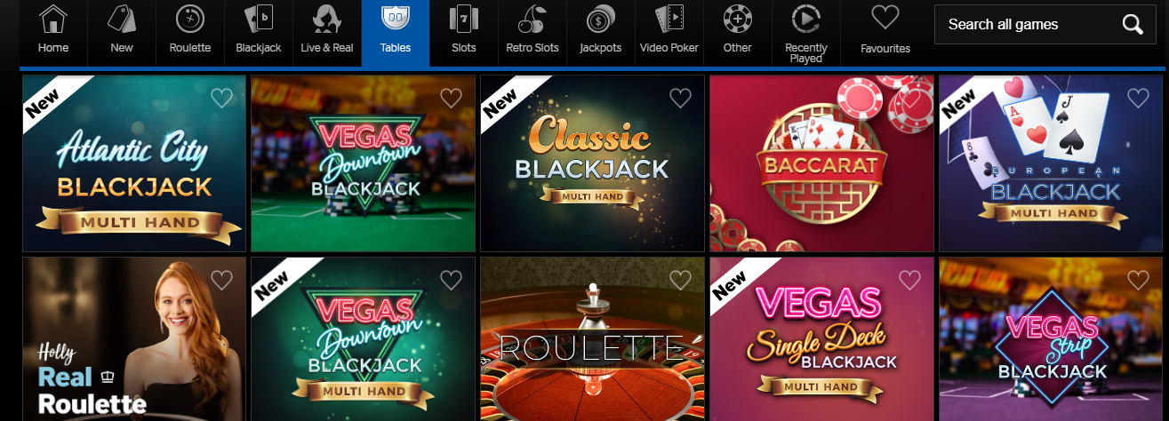 Betway Casino table games