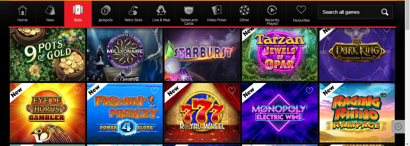 Betway Vegas Section -Slots