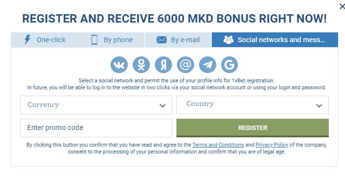 Registration via social network