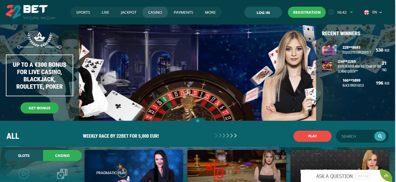 22bet casino Website