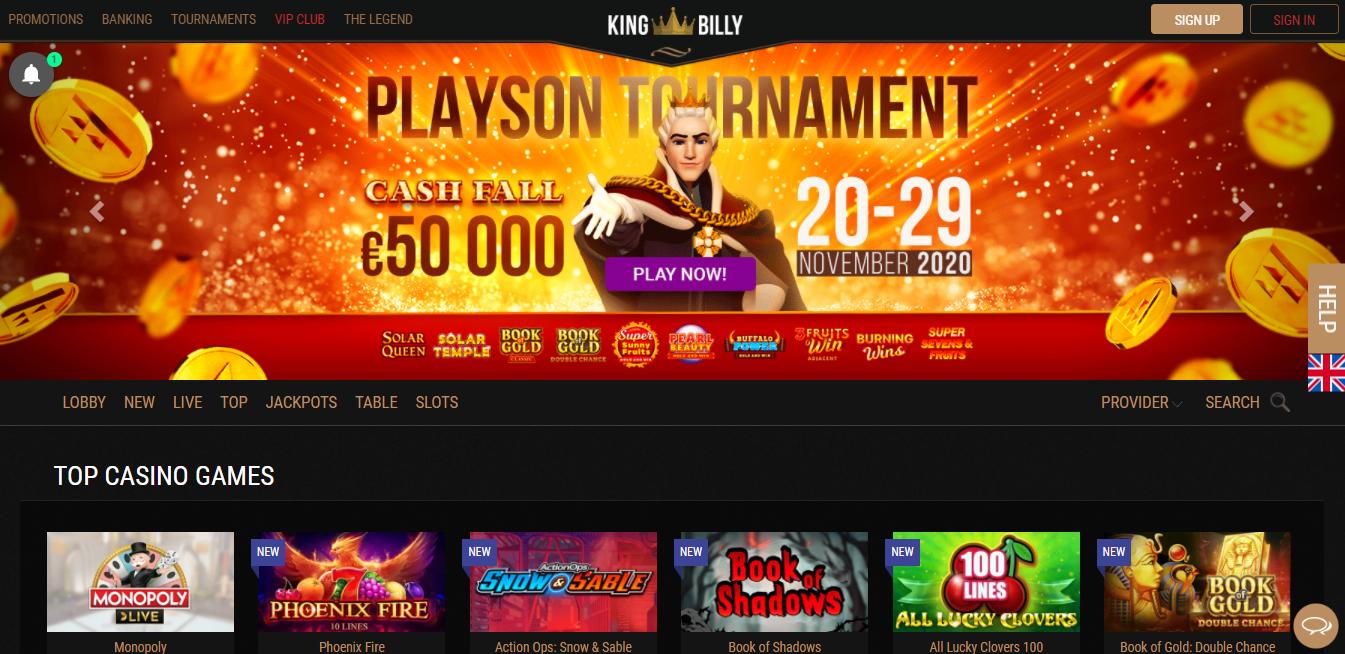 King Billy Casino Website