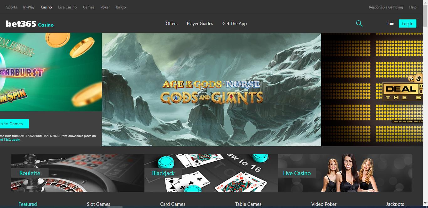 Bet365 casino review - Website design