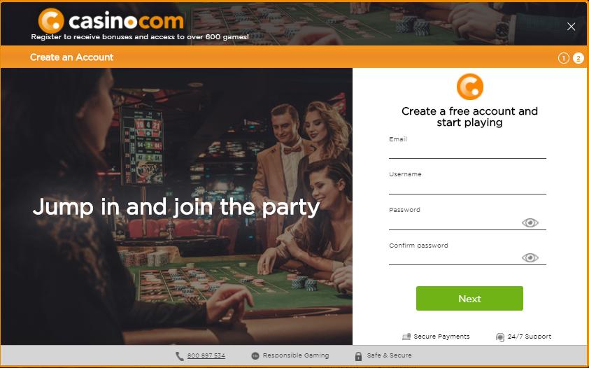 Casino.com registration form