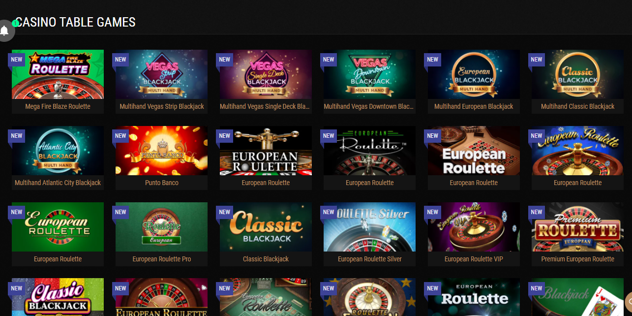 King Billy casino table games