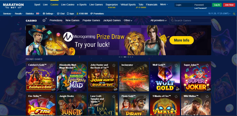 Marathonbet casino slots offer