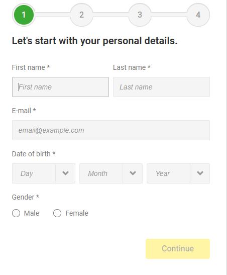 Unibet Registration Form-Personal information section