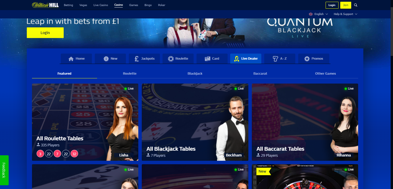Live Casino Section