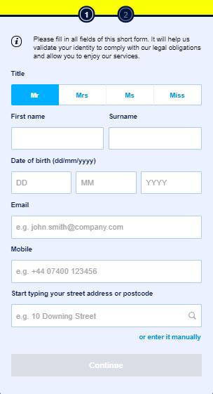 William Hill Registration Form