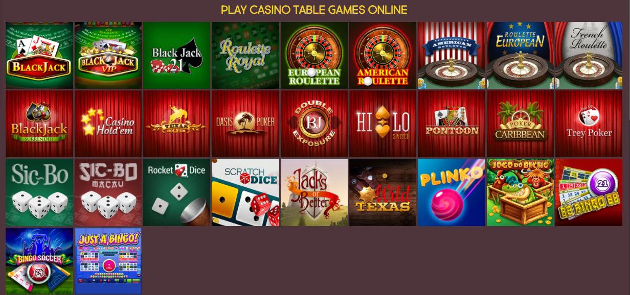 Table games at Gunsbet casino