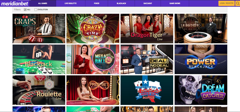Meridianbet live casino