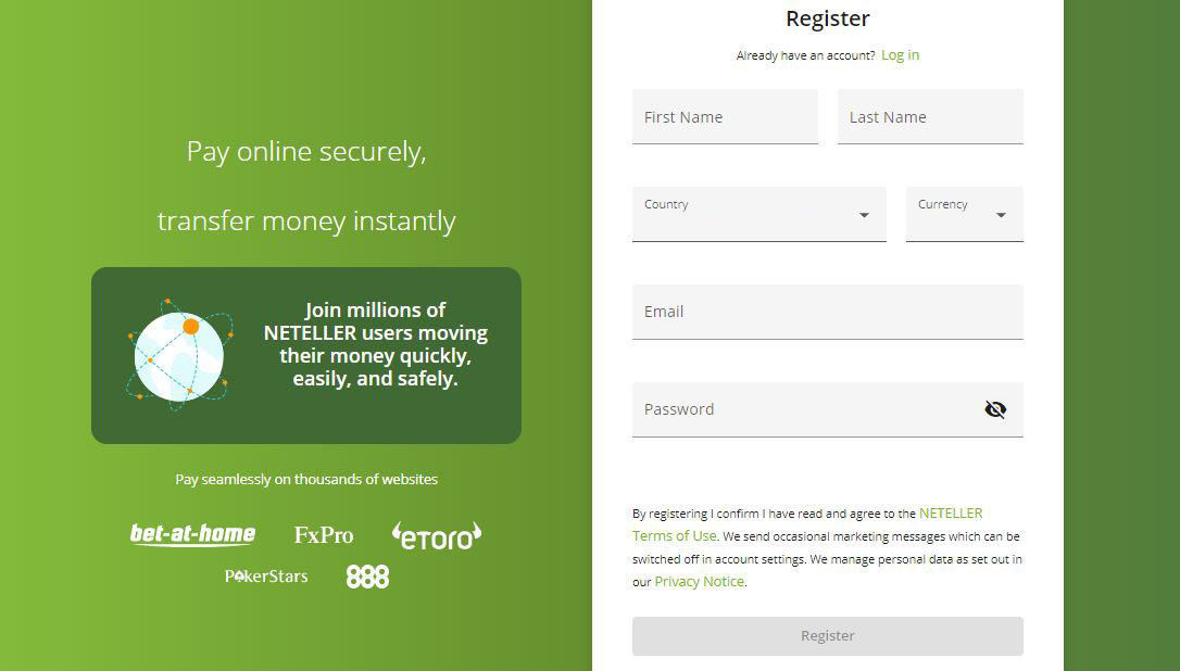 Neteller registration form