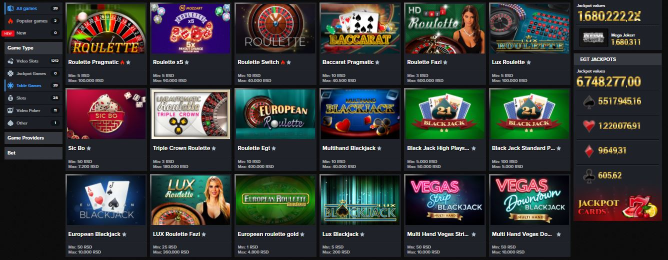 Mozzart casino games