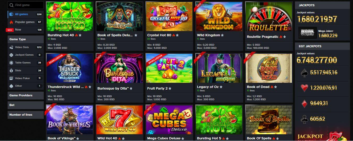Mozzartbet Slot games